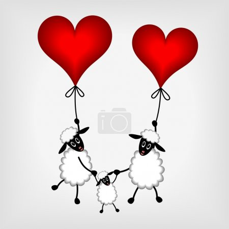 Two sheep with red hearts - balloon and lamb - vector illustrati