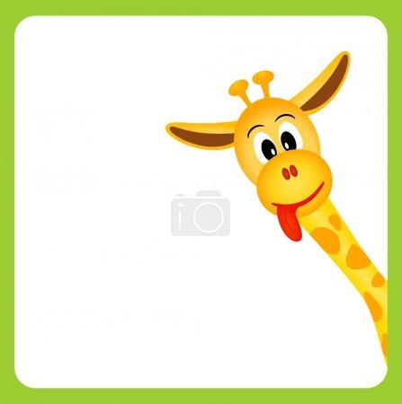 Bitmap illustration of cute little giraffe on whit...