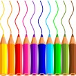 Collection of crayons on white background...