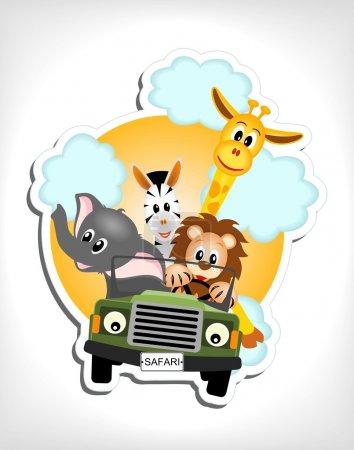 Illustration for Giraffe, elephant, zebra and lion driving green car - vector illustration - Royalty Free Image