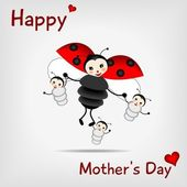 Mother ladybug with three babies and text HAPPY MOTHER'S DAY - vector illustration