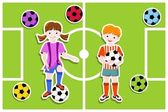 Young football players with ball football (soccer) theme - vector illustration
