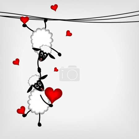Illustration for Two sheep and litle lamb hanging on washing line - vector illustration - Royalty Free Image