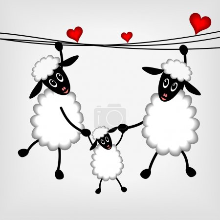 Two sheep with red hearts