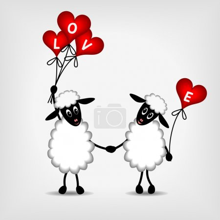Illustration for Two sheep in love with red hearts - balloons and text LOVE - vector illustration - Royalty Free Image