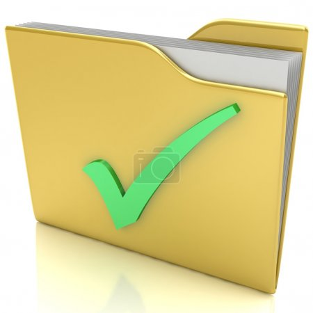 3d yellow folder with green check mark