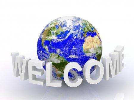 Photo pour Texte de bienvenue 3D avec globe. - image libre de droit