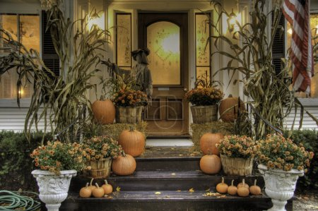 Photo for Porch of a house decorated for halloween - Royalty Free Image