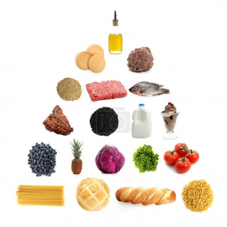 Photo for Food pyramid containing the essential food groups - Royalty Free Image