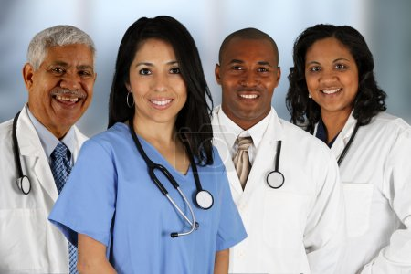 Photo for Group of doctors and nurses set in a hospital - Royalty Free Image