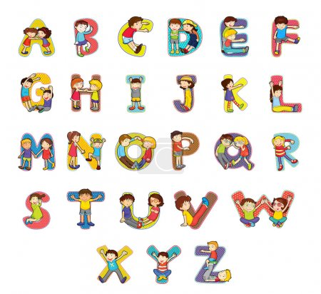 Illustration for Set of kid alphabet characters - Royalty Free Image