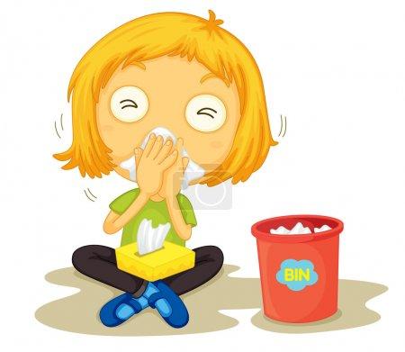 Illustration for Illustration of a sick girl - Royalty Free Image