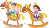 kids playing toy-horse