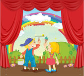 Illustration of kids painting rainbow on stage