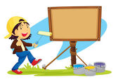 Illustration of a girl standing near a notice board
