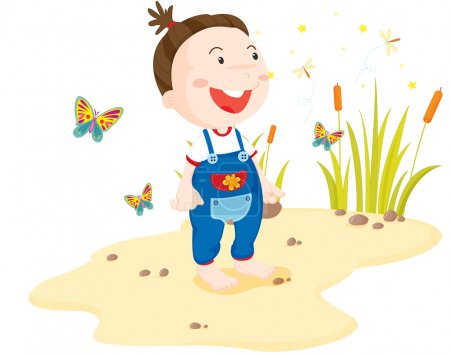 Illustration for Toddler surounded by insects on the beach - Royalty Free Image