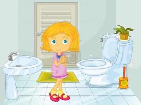 Illustration pour Jolie fille blonde dans la salle de bain - image libre de droit