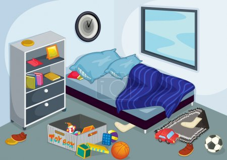 Illustration for Illustration of a messy bedroom - Royalty Free Image