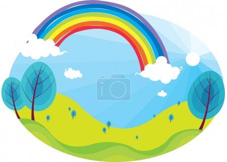 Illustration for Illustration of rainbow on bright blue sky - Royalty Free Image