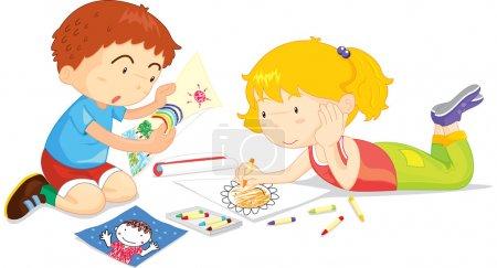Illustration pour Deux enfants dessinent ensemble - image libre de droit