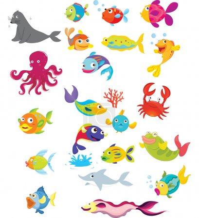 Illustration pour Illustration de la vie sous la mer - image libre de droit