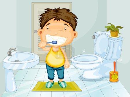 Illustration pour Garçon brossant les dents dans la salle de bain - image libre de droit