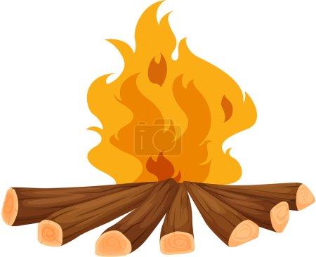 Illustration pour Illustration d'un feu de camp sur blanc - image libre de droit