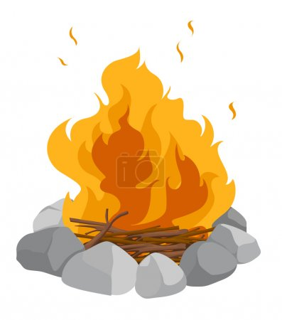 Illustration for Isolated campfire on a white background - Royalty Free Image