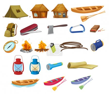 Illustration for Set of detailed camping equipment on white - Royalty Free Image