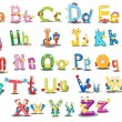 Illustration of Alphabet characters on white...
