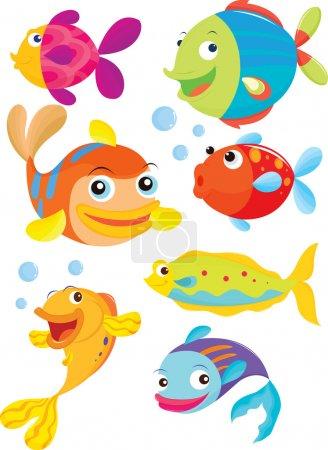 Illustration pour Sept poissons nageant et soufflant des bulles - image libre de droit