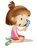 Illustration of a young girl using a magnifying glass