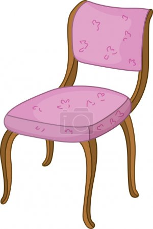 Illustration for An illustration of a wooden chair with pink upholstery - Royalty Free Image
