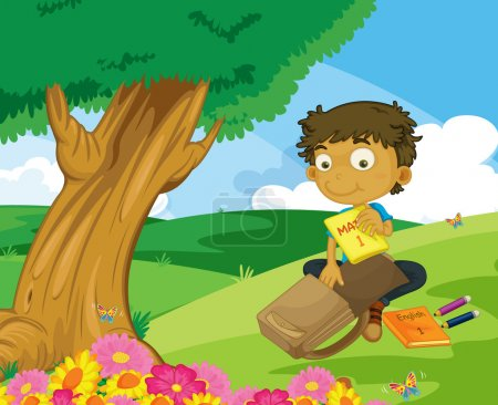 Illustration for Illustration of boy packing in the park - Royalty Free Image