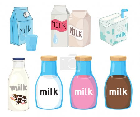 Illustration pour Collection de laits assortis sur blanc - image libre de droit