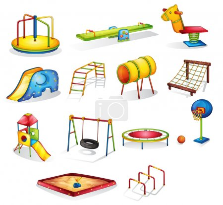 Illustration for Collection of isolated play equipment - Royalty Free Image