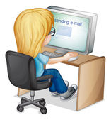 Girl sending email on computer