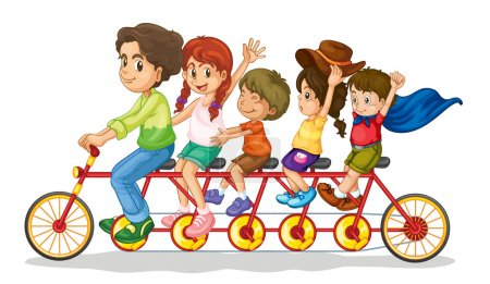Illustration for Family teamwork on a multiple seat bike - Royalty Free Image