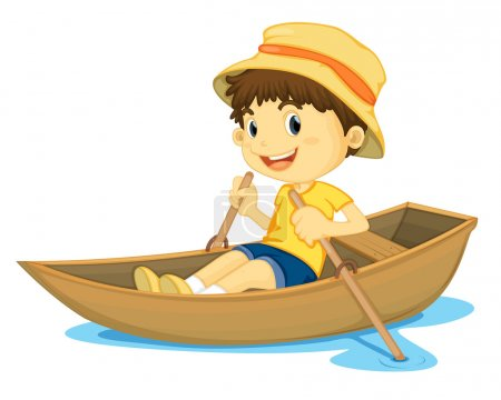 Illustration for Illustration of a young boy rowing a boat - Royalty Free Image