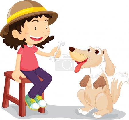 girl with her pet dog