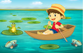 Illustration of boy in boat in a lake with animal characters
