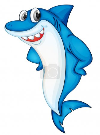 Illustration for Comical shark character on white - Royalty Free Image