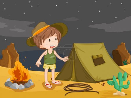 Ilustración de Ilustración del niño acampando en el desierto - Imagen libre de derechos