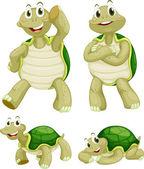 Illustraiton of comical turtles on white