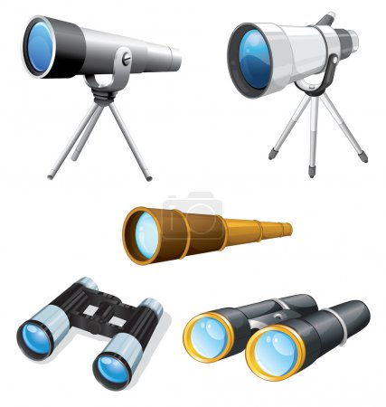 Illustration for Illustraiton of telescopes and binoculars - Royalty Free Image