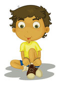 Illustration of boy putting shoes on