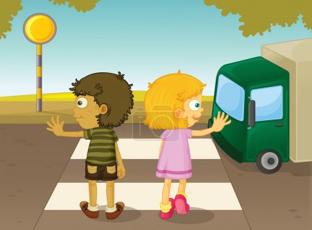 Illustration for Illustration of boy and girl crossing the street - Royalty Free Image