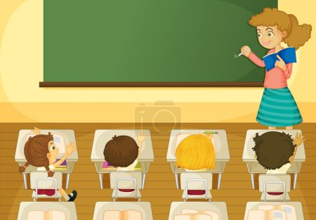 Illustration pour Illustration d'une scène de la salle de classe - image libre de droit
