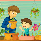 Illustration of father and son gardening