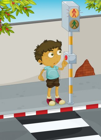 Illustration for Illustration of boy using a zebra crossing - Royalty Free Image